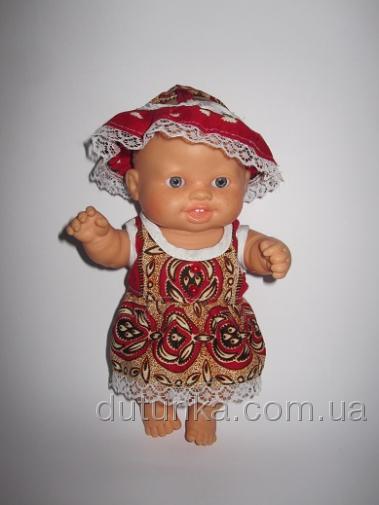 Летнее платье с панамочкой для пупсика Паола Рейна Праздничное (ПР125) Dutunka
