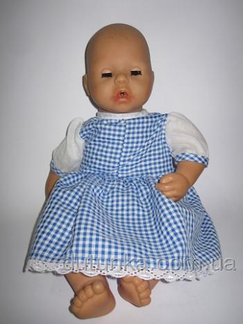 Платье для пупса Беби Анабель Голубая клеточка (БА3) Dutunka