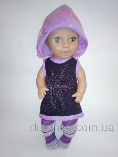 Летнее платье со шляпкой для пупса-девочки Сирень(К38-213) Dutunka