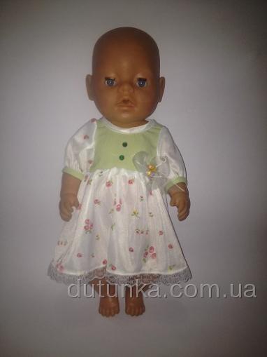 Летнее нарядное платье для пупса-девочки Беби борн Салатовая нежность (ББ535) Dutunka