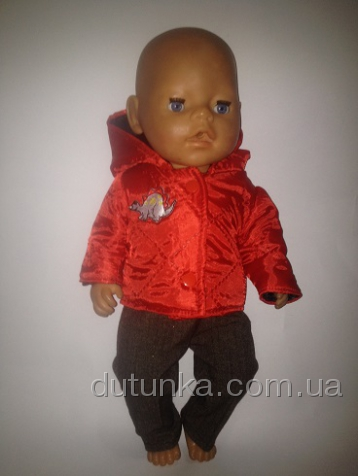 Комплект с теплой курткой для пупса-девочки Беби борн Динозаврик (ББ782) Dutunka