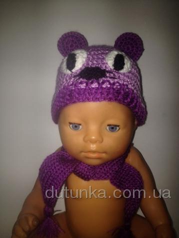 Комплект с шапочкой для пупса-девочки Сиреневый мышонок (ББ913)нет в наличии Dutunka