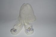 Вязаный комплект: Шапочка и туфельки Снежинка (К35-60) Dutunka