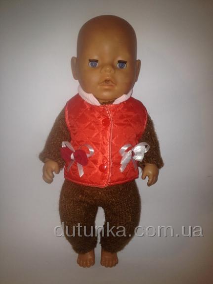 Комплект с красной деми-жилеточкой для пупса Беби Борн с жилеточкой Бантики(ББ747) Dutunka