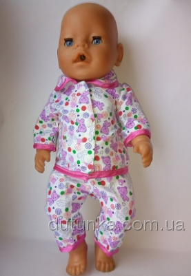 Пижамка баевая для пупса Беби Борн Мишутки (ББ900) Dutunka