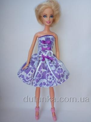 Платье бальное для куклы Барби Гепюр.Сирень (Б3) Dutunka