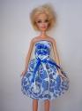 Платье  бальное для куклы Барби Гепюр.Синева (Б249) Dutunka