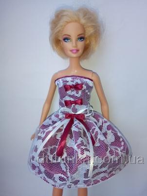 Летнее платье для куклы Барби Гепюр.Бордо (Б240) Dutunka