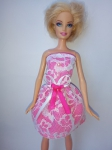 Платье для куклы Барби Гепюр.Розовое (Б104) Dutunka
