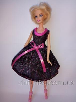 Платье праздничное блестящее для куклы Барби Звездное (Б257) Dutunka