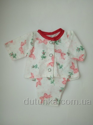 Спальный комплект-тройка для пупса (пижамка+ маечка)  Сладкие сны(К35-7) Dutunka