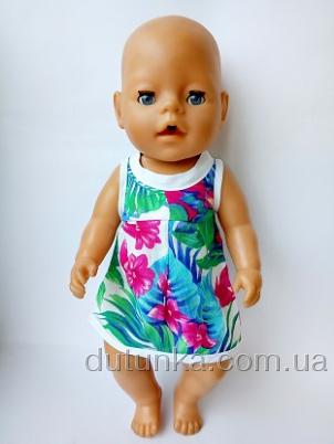 Платье летнее нарядное для пупса Беби Борн  Воланж (ББ482) Dutunka