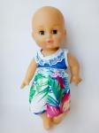 Платье летнее для пупса 35 см Голубое лето (К35-75) Dutunka