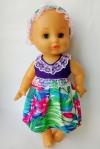 Летнее платье с повязочкой для пупса 35 см Фиолетовое Лето (К35-74) Dutunka