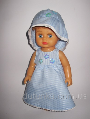 Летнее платье для куколки с панамкой Голубое (R6) Dutunka