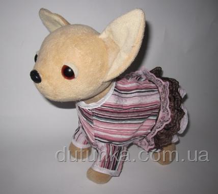 Літнє плаття для інтерактивної собачки Рожевий полосатик Dutunka