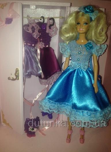 Атласное бальное платье для куклы Барби Мальвинка (Б1) Dutunka