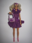 Эксклюзивное платье с сумочкой для куклы Барби Фиолетовая роза(Б201) Dutunka