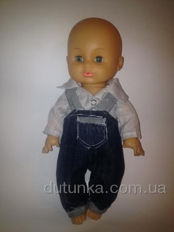 Джинсовий комбінезон з сорочечкою для пупса-хлопчика Dutunka