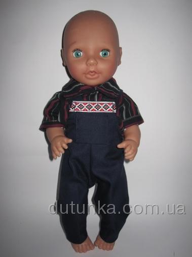 Штанці-комбінезон з сорочкою для пупса-хлопчика Народний стиль Dutunka