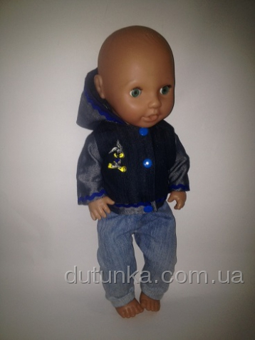 Джинсовий костюм для пупса Котик (немає в наявності) Dutunka