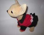 Комбинированное платье с ромашками для интерактивной собачки Красное и черное (ЧЧЛ90) Dutunka
