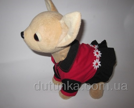 Комбіноване плаття з ромашками для інтерактивної собачки Червоне і чорне Dutunka