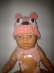 Вязаная шапочка для пупса-девочки Беби Борн  Розовый мишка (ББ911) Dutunka