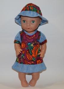 Літнє плаття з панамкою для лялечки 38 см Мозаїка Dutunka