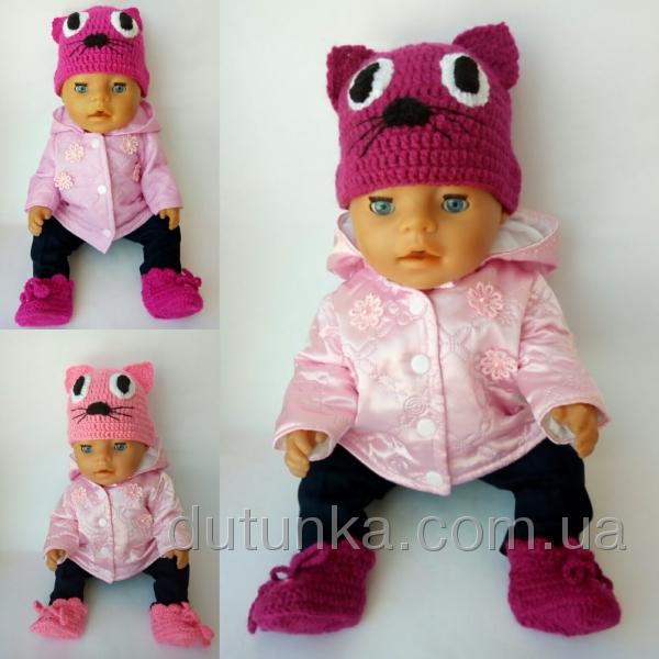 Шапочка для пупса-дівчинки Рожеве кошеня Dutunka