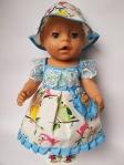 Платье летнее с панамкой для куклы Беби Борн Птички (ББ558)  Dutunka
