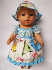 Сукня літня з панамкою для ляльки Бебі Борн Пташки   Dutunka