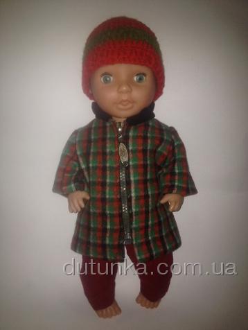 Комплект теплого одягу для пупса-дівчинки 37-38 см Клітка Dutunka