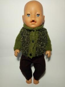 В´язана кофта і штанці для пупса Бебі Борн Зелена травичка Dutunka
