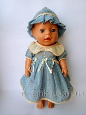Літнє плаття для пупса Бебі бон Блакитне Dutunka