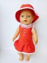Льняное платье с панамкой для пупса Беби борн Красная шапочка (ББ774)  Dutunka