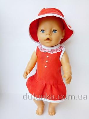 Льняна сукня з капешюшком для Бебі борн Червона шапочка   Dutunka