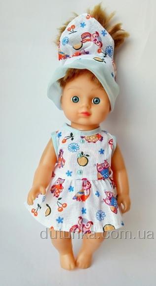Летнее платье с косыночкой для куколки 28 см (К28-6) Dutunka