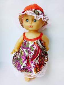 Летний сарафан c панамкой  для куклы 35 см Модный (К36-71)  Dutunka