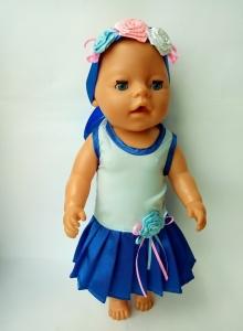 Літнє плаття для пупса Бебі Борн Синє Dutunka