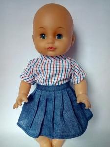 Комплект с джинсовой юбочкой Модняшка для пупса девочки (К35-64)  Dutunka