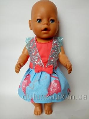 Плаття літнє для пупса Бебі бон Рожевий фламінго  Dutunka