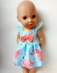 Летнее платье для куколки 38 см Розовый фламинго (К38-300)  Dutunka