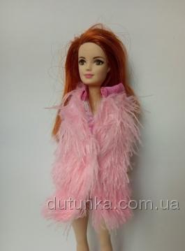 Хутряна жилетка для Барбі Рожева Dutunka