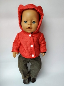 Куртка с брючками для пупса Беби борн Красная шапочка (ББ941)  Dutunka
