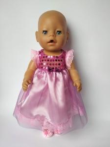 Нарядное платье для куклы Беби бон Розовое  Dutunka
