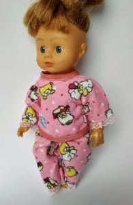 Теплая пижама для пупса 28 см Розовые мишки  Dutunka