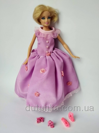 Атласна сукня для ляльки Барбі Бузковий настрій Dutunka