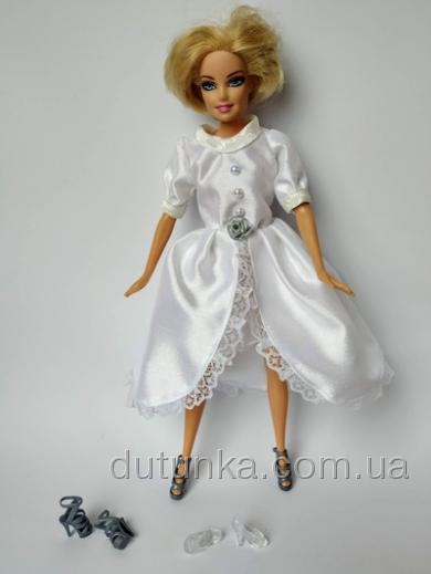 Сукня для ляльки Барбі Білий атлас Dutunka