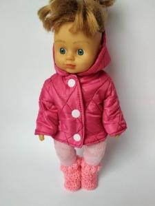 Зимняя куртка для куколки 28 см Розовая   Dutunka